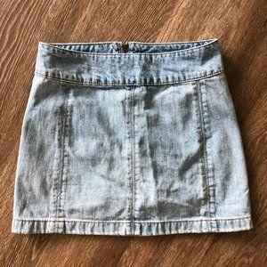 Free People Zip It Denim Miniskirt in Beta Wash